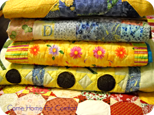 A comfy stack of Nana's quilts