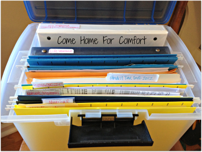come home for comfort organization file box open