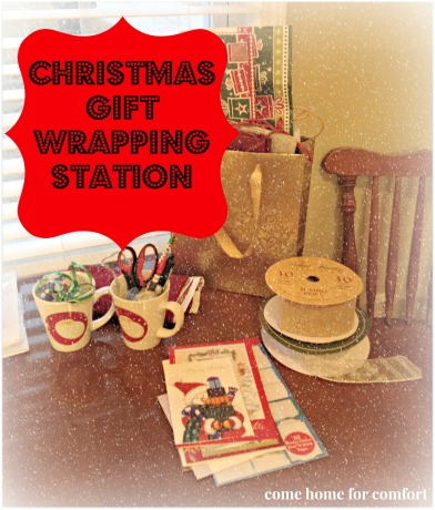 christmas gift wrapping station via come home for comfort