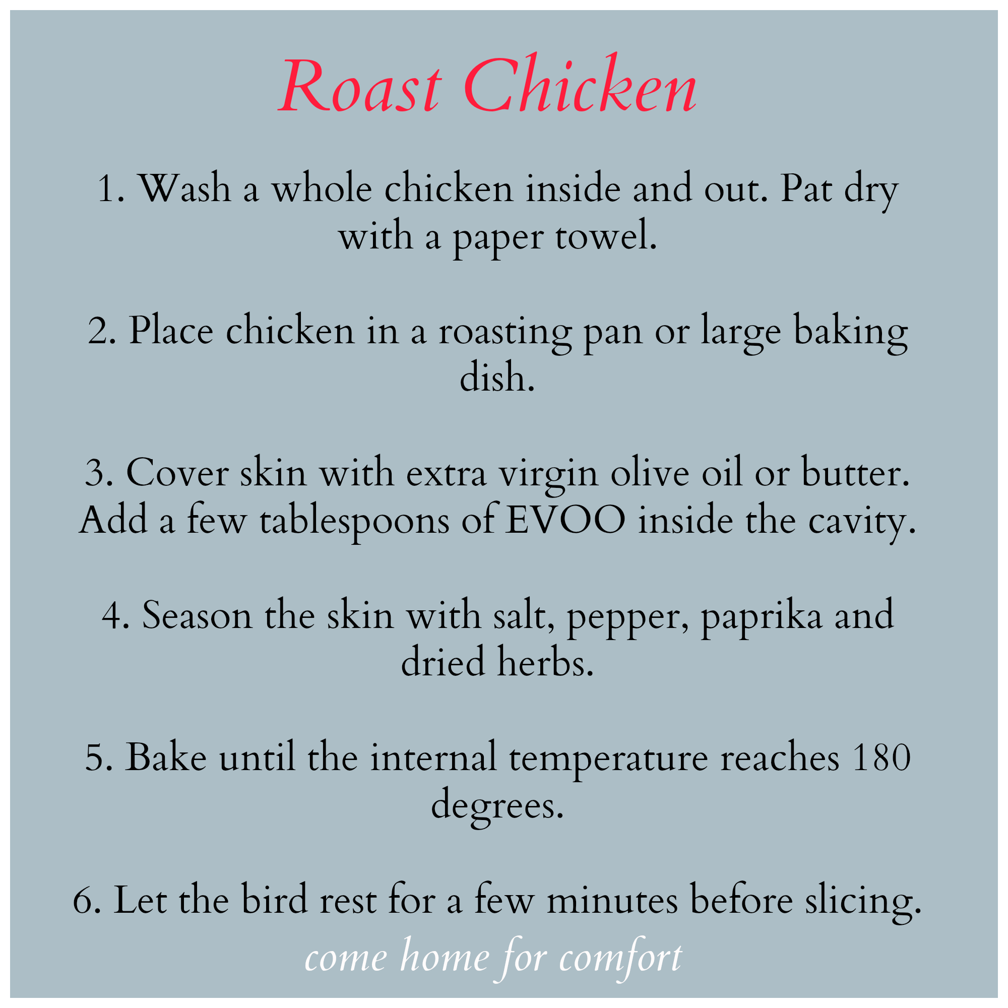 Roast Chicken Recipee Home Forfort