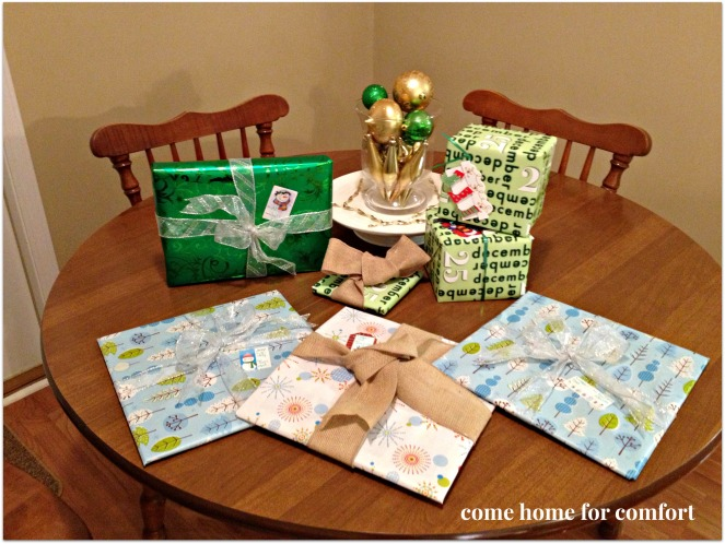 wrapped gifts come home for comfort