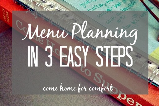 Menu Planning in 3 Easy Steps Come Home for Comfort