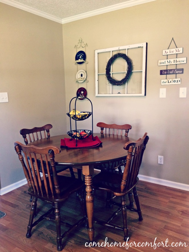 Dining Room Decor Window and Grapevine Wreath Come Home For Comfort