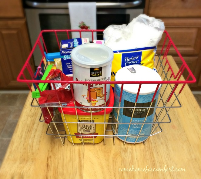 Corral like items in a basket for easy access while baking - Come Home For Comfort
