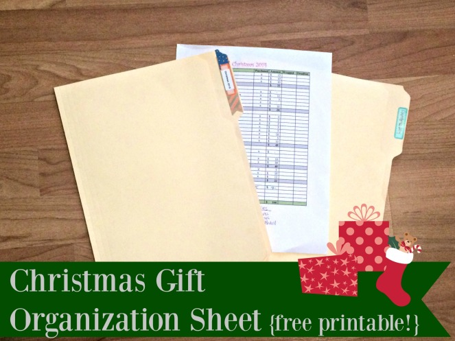 Christmas Gift Organization Sheet with free printable