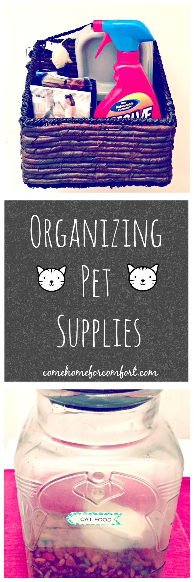 Tips for keeping pet food and supplies organized and easy to find!