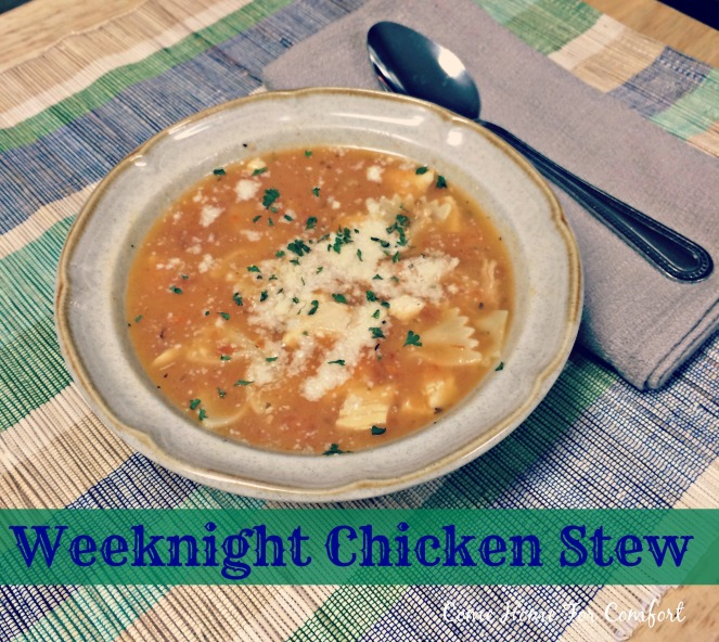 Quick and Easy Weeknight Chicken Stew via ComeHomeForComfort.com