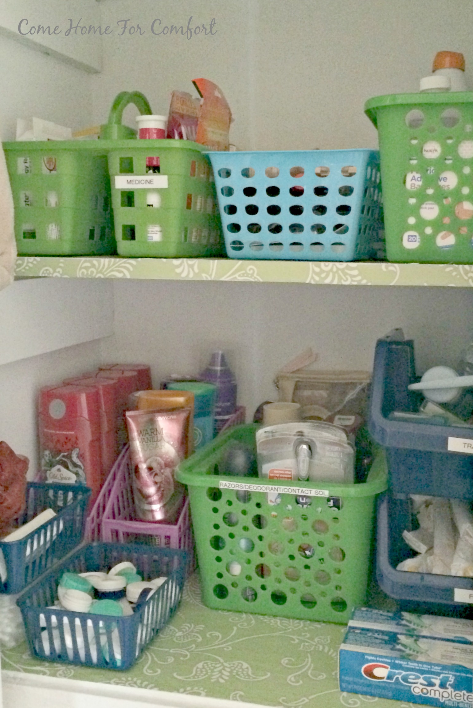 How To Organize Toiletries In A Small Closet Via ComeHomeForComfort.com