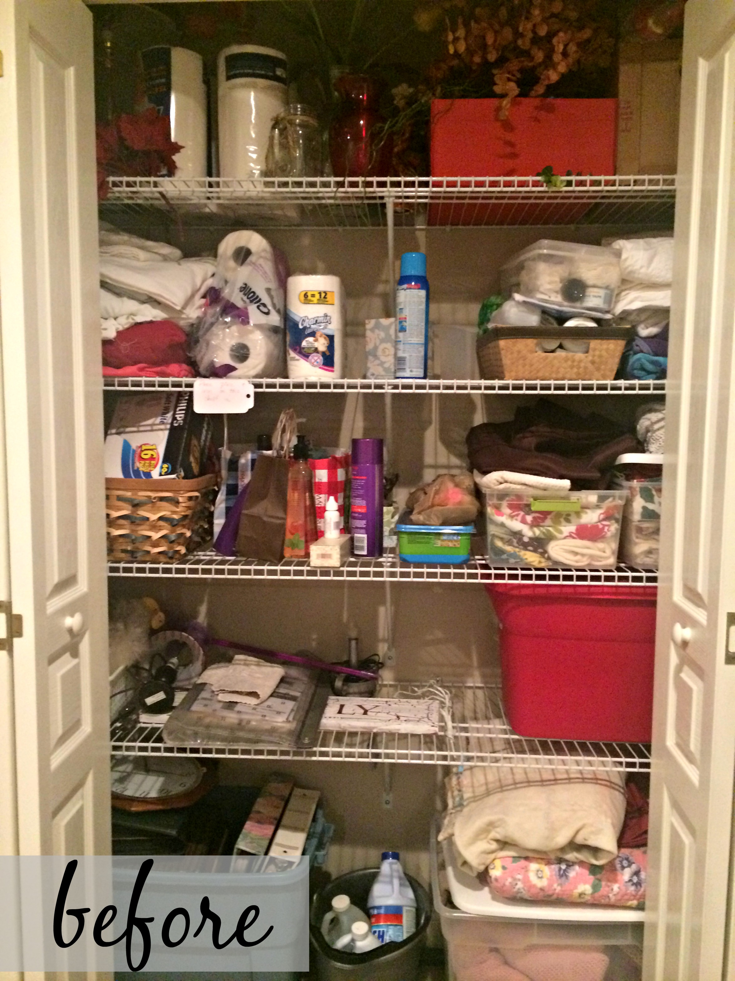 Organizing a linen closet on a budget come home for comfort for Organizing a walk in closet