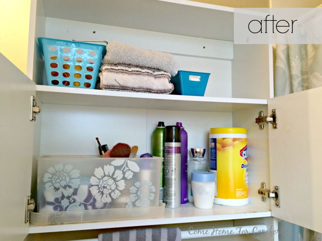 Bathroom Cabinet Re-Organization via ComeHomeForComfort.com 3