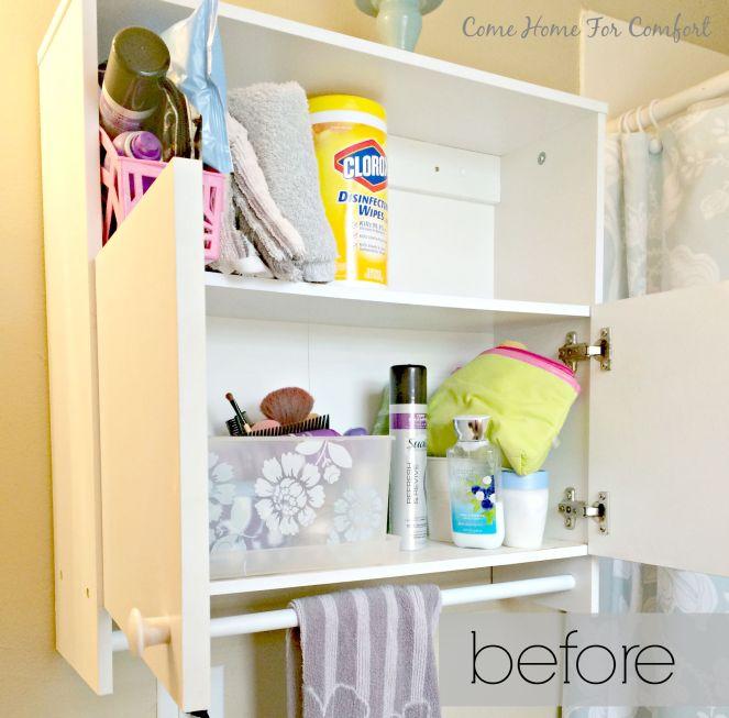 Bathroom Cabinet Re-Organization via ComeHomeForComfort.com