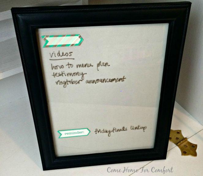 DIY Dry Erase Board via ComeHomeForComfort.com