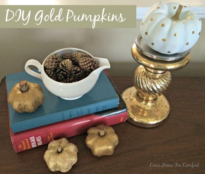DIY Gold Pumpkins via ComeHomeForComfort.com
