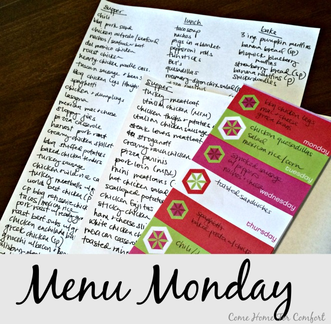 Make a list of all the things you make for supper. It makes menu planning so much easier!