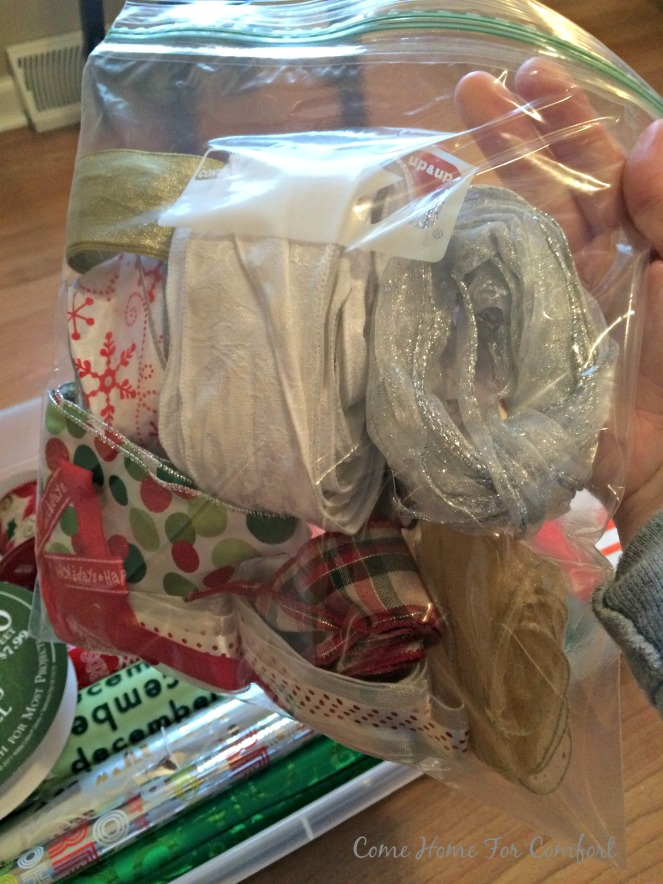 Organizing and storing Christmas gift wrap 2