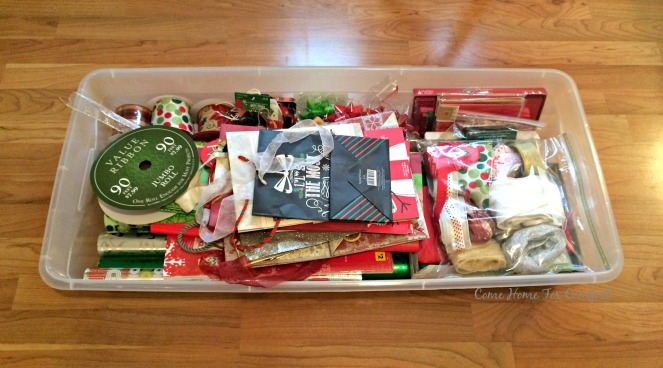 Organizing and storing Christmas gift wrap 5