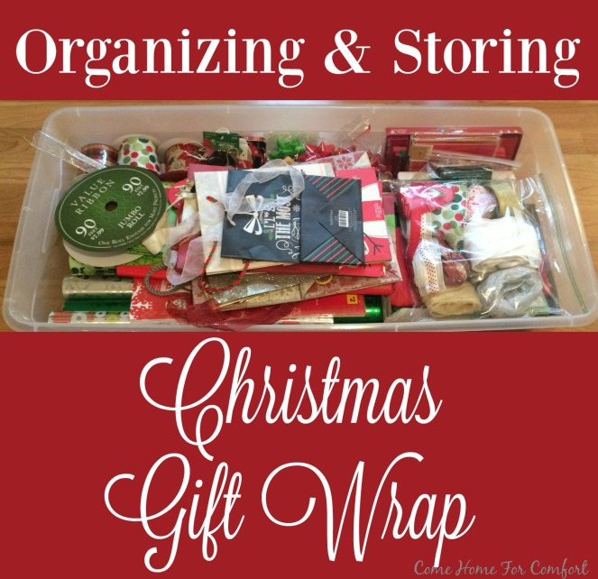 Organizing and storing Christmas gift wrap via ComeHomeForComfort.com