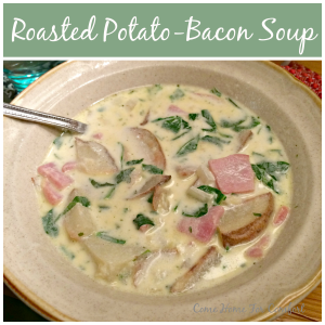 Roasted Potato Bacon Soup via ComeHomeForComfort