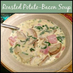 Roasted Potato Bacon Soup via ComeHomeForComfort