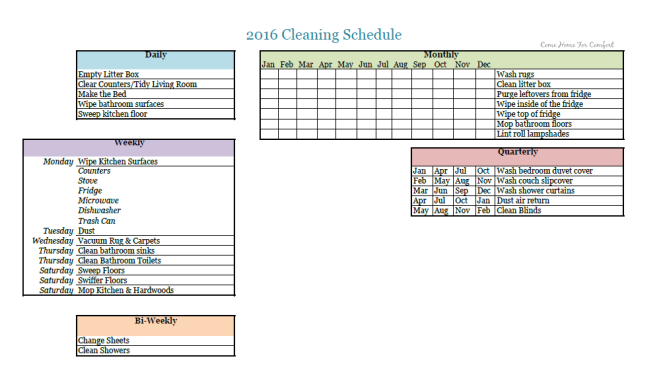 2016 Cleaning Schedule via Come Home For Comfort