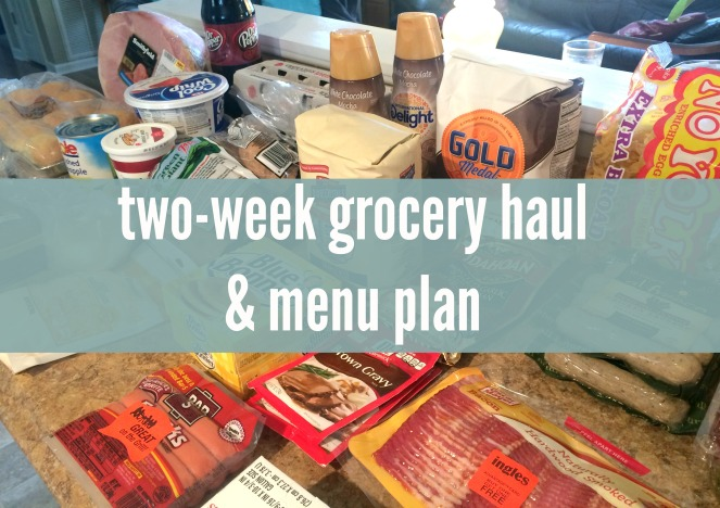 Two week grocery haul and menu plan