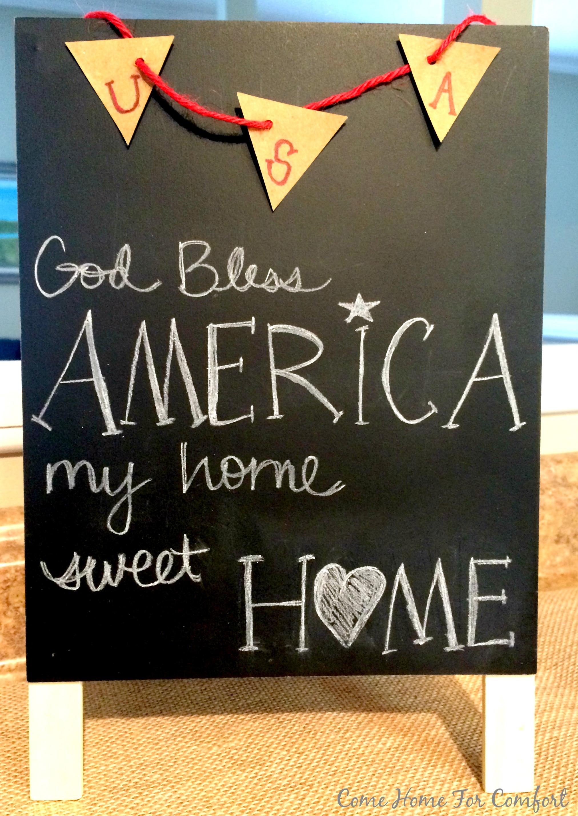 my home sweet home patriotic decor come home for comfort. Black Bedroom Furniture Sets. Home Design Ideas