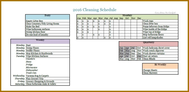 Cleaning Schedule Updated 8.16