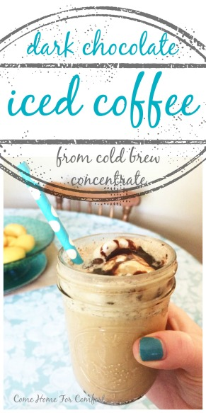 Dark Chocolate Iced Coffee From Cold Brew Concentrate via ComeHomeForComfort.com