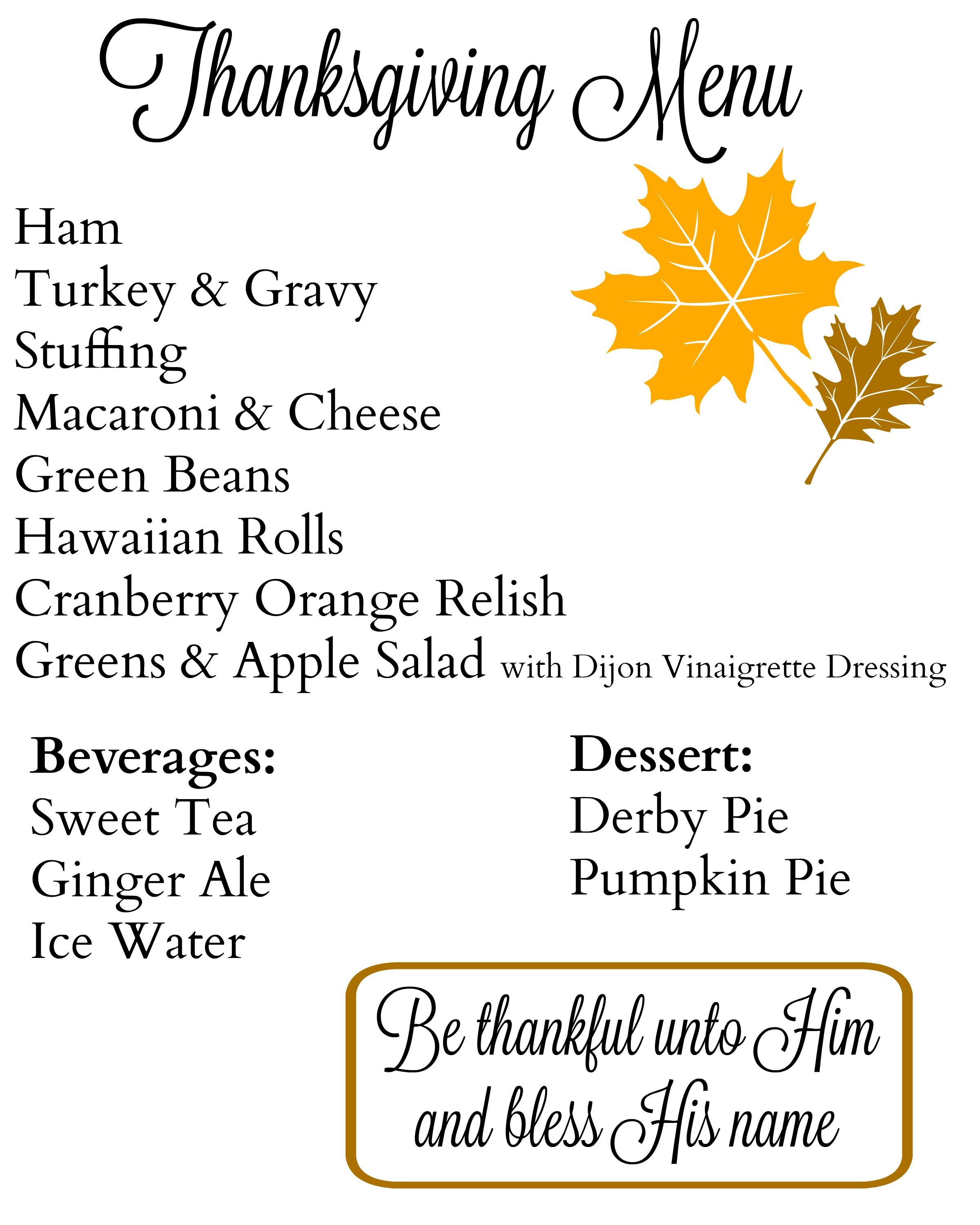 My Thanksgiving Menu And Shopping List {2016}