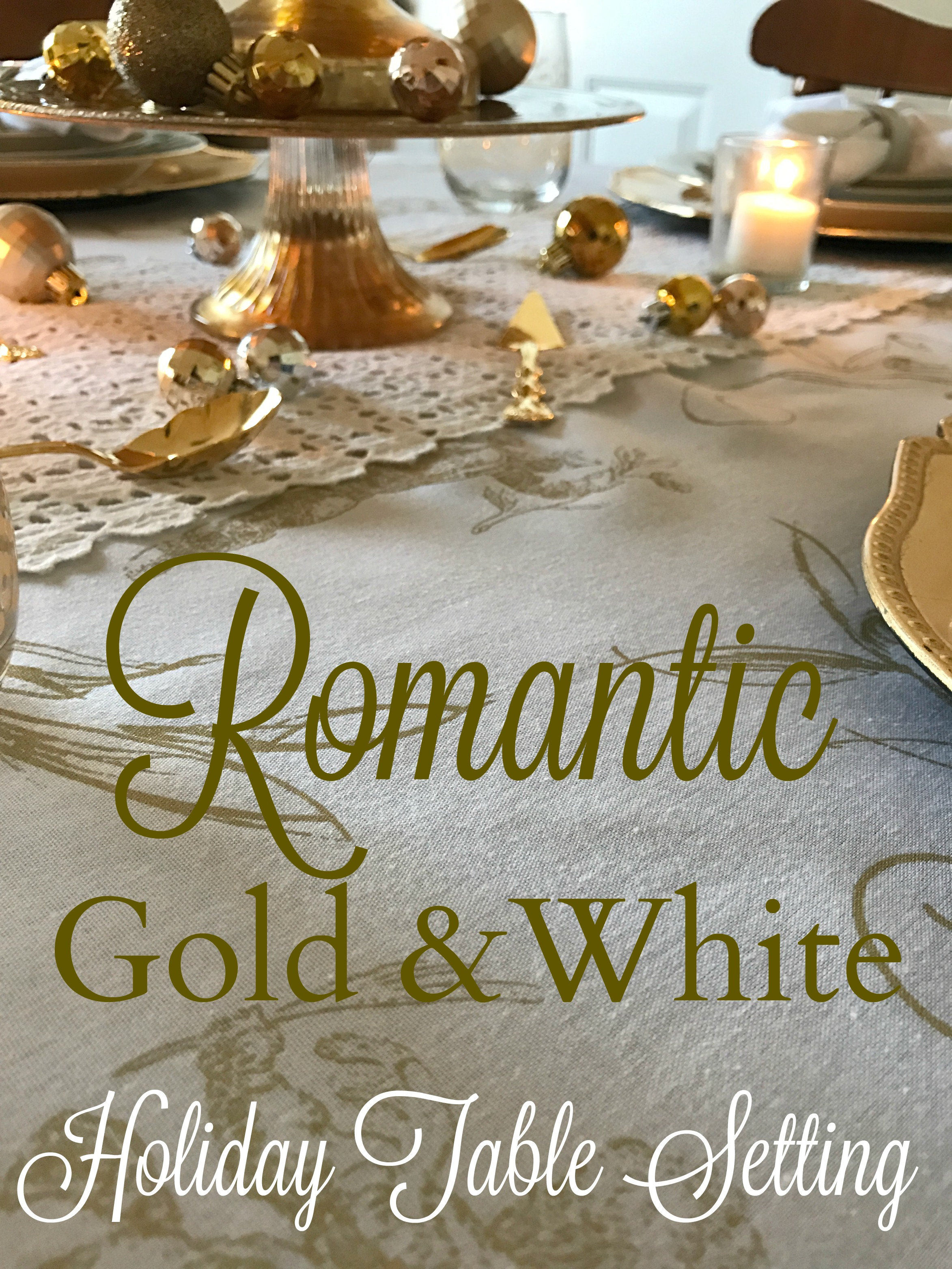 Romantic Gold And White Holiday Table Setting Via