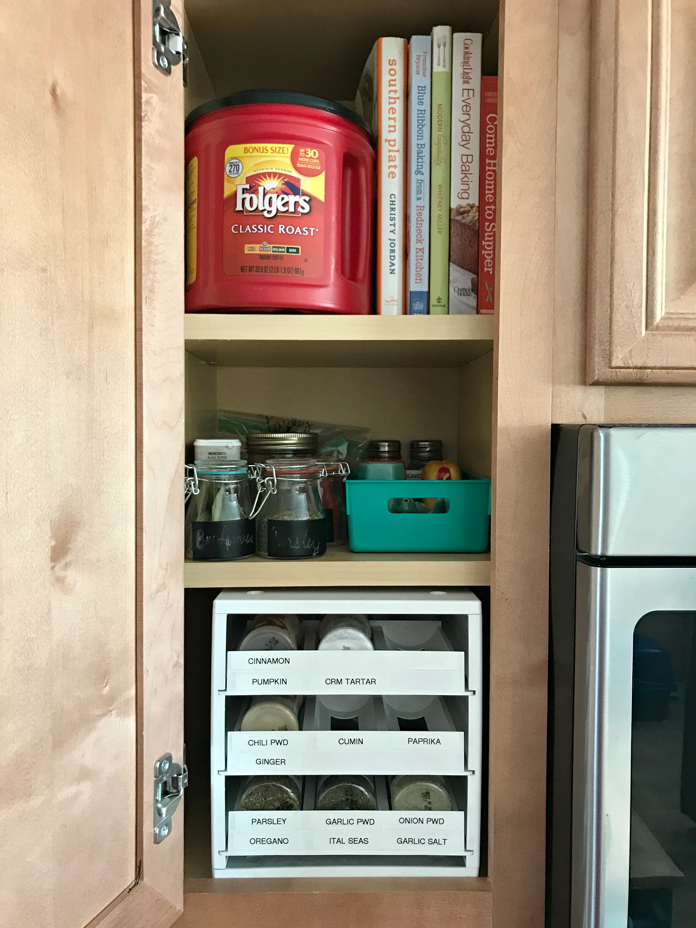 Most Of My Organizing Products Come From The Dollar Tree, But I Really Do  Love My Spice Organizer From Bed Bath And Beyond! It Fits Perfectly In The  Cabinet ...